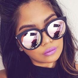 cat eye pink sunglasses woman shades mirror female square sun glasses for women coating oculos fashion brand sunglasses